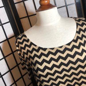 Tan and black long chevron print shirt